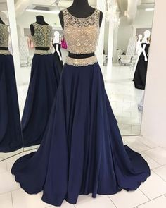 Two Piece Prom Dress, Luxurious Beads Prom Dress, 2017 Prom Dress, Navy Blue Prom Dress - Thumbnail 4 Navy Blue Prom Dresses, Prom Dresses 2017, Party Dresses, Navy Dress, Pageant Dresses, Quinceanera Dresses, Formal Evening Dresses, Evening Gowns, Evening Party