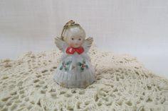 Vintage Angel Ornament Bell Christmas Holly Miniature Porcelain Hand Painted Gold Gilt by KansasKardsStudio on Etsy