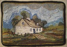 """La Maison Drouin""  designed and hooked by Francoise Vezina Gagnon, Ste-Famille, Quebec. La Maison Drouin (the Drouin House) is a traditional farmhouse that stands to this day.  It was built in 1730 on Ile d'Orleans, near Quebec City."