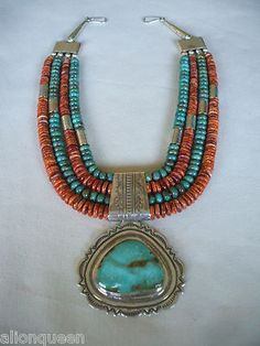 Contemporary KEWA artisan, Wayne Aguilar. TURQUOISE & Spiny Oyster Shell NECKLACE Santo Domingo Pueblo