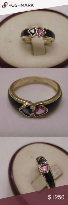 14k gold genuine tourmaline sapphire enamel ring Estate art deco 14k yellow gold genuine pink tourmaline and blue sapphire with black enamel going half way around the ring. From 1930s. Stamped 14k. Weight 2.9gr. Size 4 3/4. Jewelry Rings