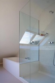 Soaking tub and glass walled shower