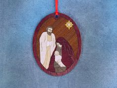 Wood Inlay Christmas Ornament - Nativity by EzMarquetry on Etsy