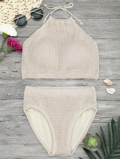 Zaful - Zaful High Neck Crochet Bikini Set - AdoreWe.com