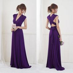 Convertible/Infinity Dress Floor Length by christintina on Etsy :: Love the concept with the dark purple, not necessarily convertible though. #Wedding #Bridesmaid
