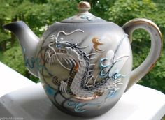 Vintage Hand Painted Porcelain Black And White Dragonware Teapot 8 inches