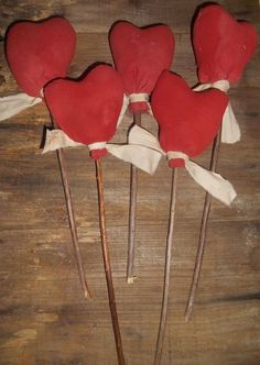 Set of 5 Extreme Primitive Grungy Heart Pokes Valentines Ornies Handmade Red #NaivePrimitive #handmade