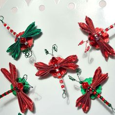 Holiday Bugs Christmas Bugs Red Green Kanzashi Dragonfly Magnets