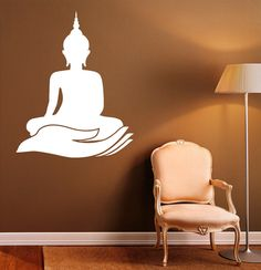 Buddha Wall Decal Indian Design Lotus Flower by BestDecalsUSA