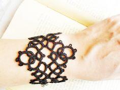 Tatting (Frivolite) Bracelet - Tatted Black Lace Bracelet by carmentatting on Etsy