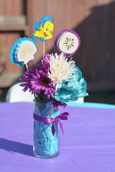 Little Mermaid birthday center pieces.  Under the Sea themed birthday center pieces.  Flounder