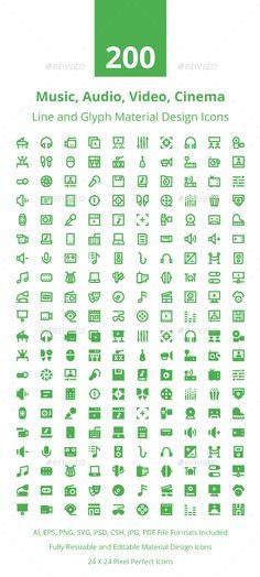 200 Multimedia Material Design Icons