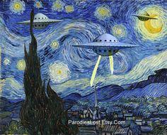 UFO STARRY Night Parody Vincent van Gogh Space Ship Flying Saucer Alien