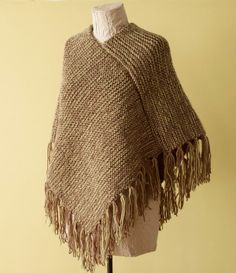 pattern for Loom Knit Fringed Poncho