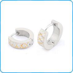 Women's stainless steel tricolor hoop earrings fashion earrings