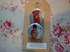 London Pinback Badges  Beefeater and Post Box by TheHomemadeHaven, £3.00