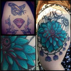 Upper arm botanical cover up tattoo I found on reddit. So pretty! I love the flowers