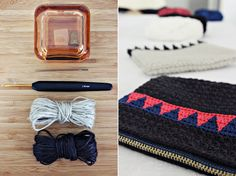 Linen purse with triangles, Hilja Design.