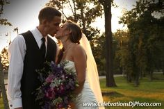 Cute kisses and a beautiful sunset! #weddingphotography #lehighvalley #berkscounty #centralpa #poconos #celebrationspa #romantic #brideandgroom www.celebrationsdjphoto.com