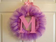 Personalized Initial Tutu Wreath Pink Purple Girls Room Decor Door Decoration Letter Initial by American Blossoms. $33.00, via Etsy.