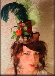 "Steampunk Tiny Top Hat / Facinator ""Apple Orchard Fantasy"" OOAK"