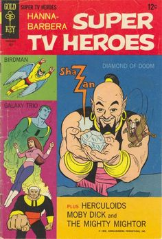 Cover for Hanna-Barbera Super TV Heroes series) Old Comic Books, Vintage Comic Books, Vintage Cartoon, Vintage Comics, Classic Comics, Classic Cartoons, Book Cover Art, Comic Book Covers, Book Art