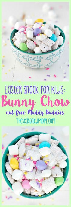 "Packed full of fluffy white marshmallow ""bunny tails"" and pastel ""eggs,"" this 10-minute Bunny Chow is a spring-themed twist on the classic ""Puppy Chow"" recipe. Plus, my version of Muddy Buddies can easily be made nut-free, so it's a perfect classroom Easter Snack for Kids!"