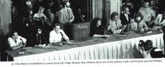 Chips Moman, Roy Orbison, Jerry Lee Lewis, Johnny Cash, Carl Perkins, & Sam Phillips at a press conference discussing their Class of `55 reunion. Sam Phillips, Sun Records, Jerry Lee Lewis, Roy Orbison, Blue Suede Shoes, Johnny Cash, Rock N Roll, Concert, Chips