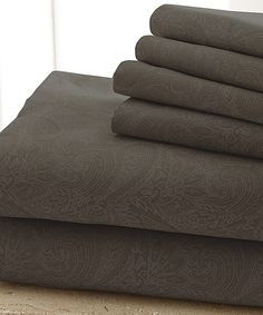 Look what I found on #zulily! Chocolate Damask Sheet Set by Colonial Home Textiles #zulilyfinds