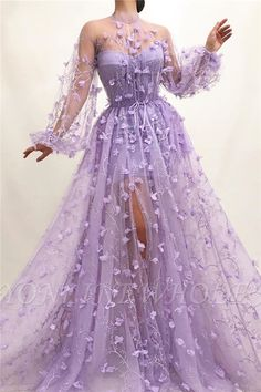Details - Lavender dress color - Tulle dress fabric - Embroidered purple flowers - A-line gown with waist definition and long sleeves - For parties and special occasions # Quinceanera purple Rozarian Bloom Gown Floral Prom Dresses, Pretty Prom Dresses, Prom Dresses Long With Sleeves, Elegant Dresses, Cute Dresses, Sexy Dresses, Summer Dresses, Flower Dresses, Dress Prom