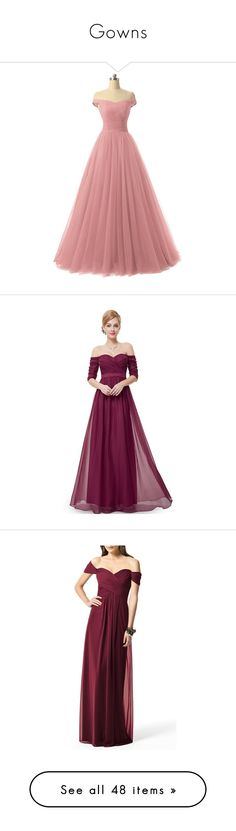 """""""Gowns"""" by hogwarts-is-home ❤ liked on Polyvore featuring dresses, gowns, evening gowns, red formal gown, red formal dresses, red gown, formal evening dresses, long dresses, purple and purple ball gowns"""
