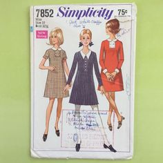 Vtg 1960s Simplicity 7852 Pattern Misses Peter Pan Collar Dress Sz 10 Bust 32.5