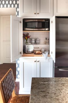 This cabinet was originally built for a single wall oven. Find out how to Modify A Single Wall Oven Cabinet and create so much extra kitchen space! It's great for hiding your microwave, an appliance garage or coffee station! Oven Cabinet, Kitchen Cabinets, One Wall Kitchen, Kitchen Design Diy, Microwave In Kitchen, Home Kitchens, Kitchen Layout, Kitchen Style, Kitchen Design