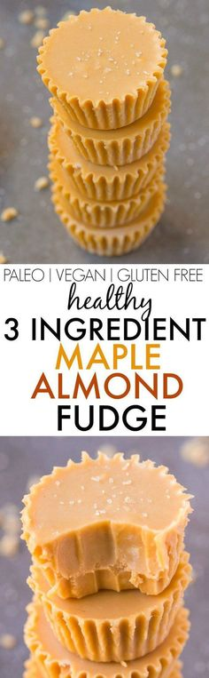 Healthy 3 Ingredient Maple Almond Fudge- Smooth, creamy and secretly healthy, this fudge takes seconds to make, and has NO butter, dairy, condensed milk or nasties! Seriously, THREE ingredient magic! {vegan, gluten free, paleo recipe}- http://thebigmanswo paleo dessert 3 ingredients