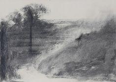 Omar Galliani 16 paesaggi per Giorgio (Morandi), matita nera s carta e anello oro, 34.5x49 cm.