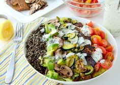 The Great Big Vegan Cobb Salad recipe. Protein: lentils, tempeh