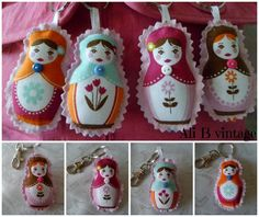 These are really sweet! Russian doll bagcharm/ keyrings they measure 7cm x 4cm, each has a tiny colour button on one side and a tiny pearl on the other. . (PLEASE CLICK ON PICTURE TO ENLARGE) PLEASE NOTE FREE DELIVERY IS WITHIN THE UK ONLY