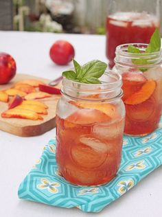 Nectarine Basil Iced Tea   Community Post: 17 Iced Teas That Will Quench Your Thirst This Spring