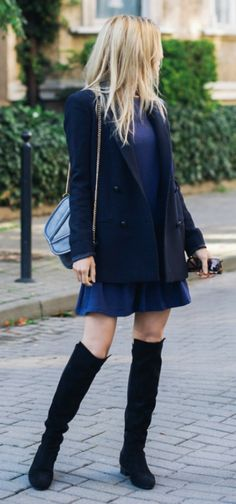 Knee high boots are a must - especially when paired with a dark blue dress and coat. Via Katarzyna Tusk Dress: Fashionland, Boots: Zara, Jacket: Massimo Dutti
