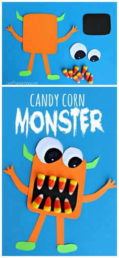 "Scary Candy Corn Monster Craft <a class=""pintag"" href=""/explore/Halloween"" title=""#Halloween explore Pinterest"">#Halloween</a> craft for kids to make! <a class=""pintag"" href=""/explore/DIY"" title=""#DIY explore Pinterest"">#DIY</a> 