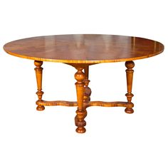 Round Tiger Maple Table | 1stdibs.com