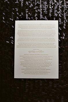 Letterpress wedding programs, luxury wedding programs, champagne