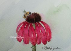 This is an original watercolor painting of some pink coneflowers by RoseAnn Hayes.  Available in Etsy shop.