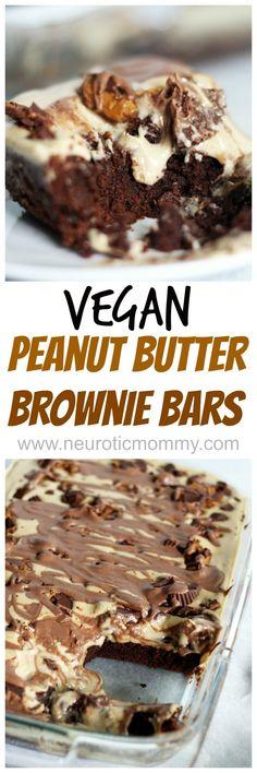 Peanut Butter Brownie Bars - super chocolatey, peanut butter goodness. NeuroticMommy.com #vegan #snacks #desserts