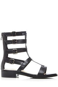 Buckles Black High Top Sandals