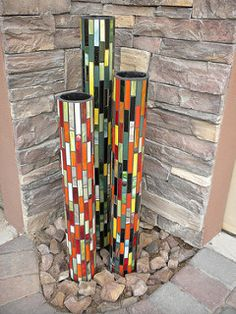 Glass on PVC pipe   by Peace by Peace Mosaics
