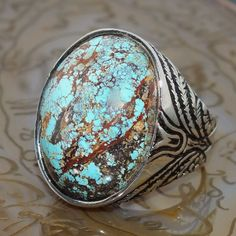 Ring Turquoise Silver Sterling 925 Mens Jewelry Handmade natural Persian Firoza #KaraJewels #Handcrafted