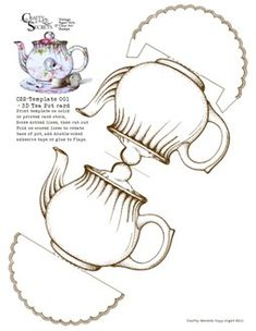 Paper Teapot cut out ~ tea party + alice in wonderland