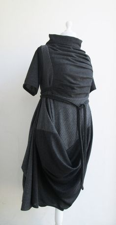 ALCHIMIA Dress Asymmetrical Quirky Avant Garde Short Sleeved -Adjustable - Graphite Ebony Jersey -Subtraction Cutting