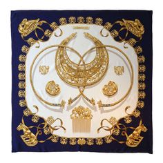 Hermes Cavaliers d'Or Scarf   From a collection of rare vintage scarves at https://www.1stdibs.com/fashion/accessories/scarves/